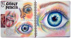 Coloured pencil facial features