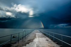 One of my favourite images. along the stunning The storm flew past us on lake Ontario leaving behind a rainbow. Shot with mark 3 canon 16 - 35 II big stopper Lee Filters, My Favorite Image, Ontario, Past, Canon, Travel Photography, Shots, Rainbow, Big