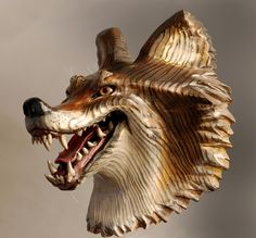 Grinning Coyote Mask woodcarving by Jason Tennant by jasontennant, $575.00