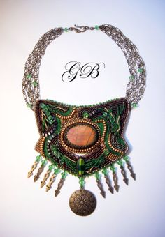 """Bead embroidery bib necklace ''Nature"""""""