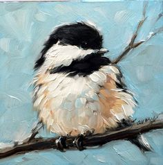 Chubby little bird painting. beautiful-examples-of-acrylic-painting-2