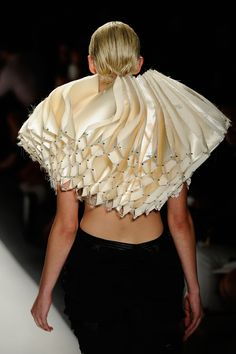 Fashion Architecture - wearable sculpture with manipulated fabric structure; 3D fashion construct