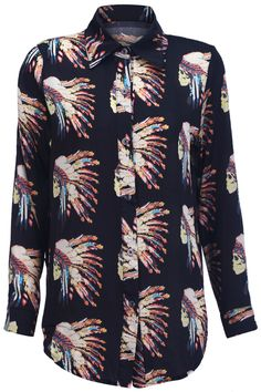 @Annie Wise!!!  European Headwear Print Shirt #Romwe soo reminds me of you and tascar.