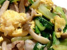 *青梗菜と豚ときのこの卵炒め*の画像