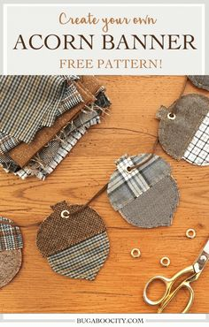 Decorate for autumn with this cozy acorn banner! Made with wool scraps. Download the FREE pattern.