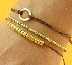 Beads. Gold  bracelet