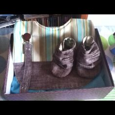 Boys gift pack made by Ditto crafts, bib, dummy clip and booties.