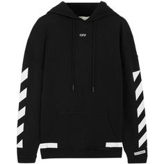 Off-White Oversized printed cotton-jersey hooded top ($470) ❤ liked on Polyvore featuring tops, hoodies, black, off white top, cotton jersey and oversized tops
