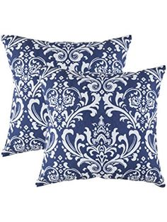 TreeWool, Cotton Canvas Damask Accent Decorative Throw Pillowcases (2 Cushion Covers; 18 x 18 Inches; Navy Blue & White) ❤ TreeWool