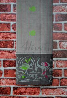 Ash Grey Handloom Silk Saree with Cranes & Fish Motifs Border - Aliveni  - 1