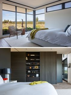 In this modern master bedroom, large windows flood the interior with natural light, while an open shelving unit within a cedar accent wall provides a place for personal items. #MasterBedroom #Windows #Shelving #InteriorDesign