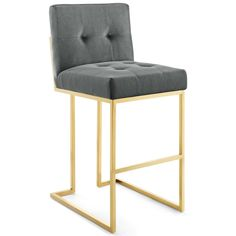 Give your dining area a glam touch with the Privy bar stool. The gold-finished stainless steel sled base supports a foam-filled seat, detailed with bold biscuit tufting. Stainless Steel Bar Stools, White Counter Stools, Leather Counter Stools, Kitchen Counter Stools, Counter Height Stools, Bar Counter, Bar Furniture, Furniture Deals, Modern Furniture