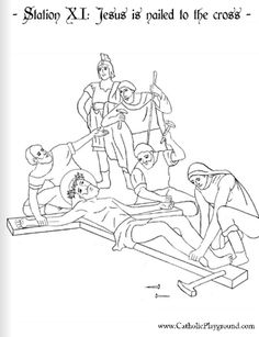 coloring page for the eleventh station jesus is nailed to the cross