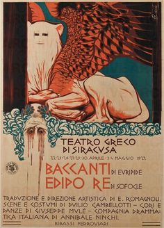 """Teatro Greco di Siracusa """"Baccanti"""" di Euripide """"Edipo Re"""" di Sofocle. Costumi di Duilio Cambellotti"""