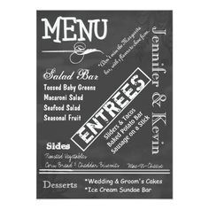Typography Wedding Menu Chalk Board Typography Wedding Menu Card