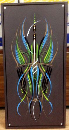 Plastic panel 50x25 Custom Paint Motorcycle, Motorcycle Art, Airbrush Designs, Airbrush Art, Pinstripe Art, Car Hood Ornaments, Pinstriping Designs, Garage Art, Artwork Design