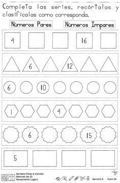 Números pares e impares, menores de 20: 2do Grado
