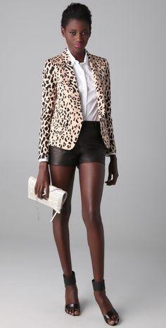 Adding flair with this Tibi Cheetah Print Blazer.