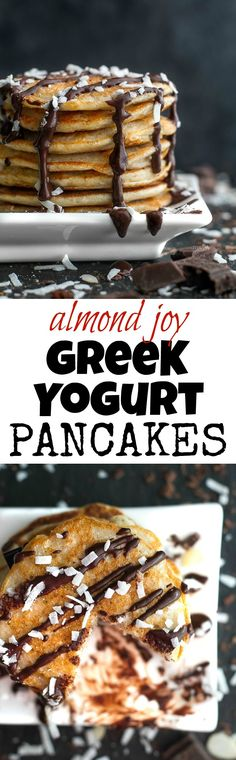 These healthy Almond Joy Greek Yogurt Pancakes are sure to keep you satisfied all morning with over 20g of whole food protein! | runningwithspoons.com