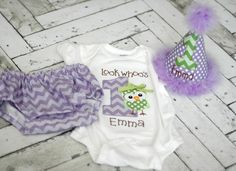 Girls Birthday Party Hat, Diaper Cover, Onesie/T-shirt - Smash Cake, Photo Prop - Look Whoos One Owl, What a Hoot - Lavender Purple Green Chevron Dots - Cake Smash Outfit