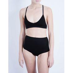 BASERANGE X stretch-bamboo jersey bralette ($52) ❤ liked on Polyvore featuring intimates, bras, black, stretchy bras, sleeveless jersey, bralette bras, racer back bra and v-neck jersey