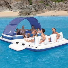 Inflatable Floating Island 6 Person Lounge Boat Lake Pool Party Raft Water Float for sale online Floating Island Raft, Inflatable Floating Island, Floating Cooler, Floating In Water, Floating Chair, Floating Lounge, Lake Rafts, Pool Rafts, Rafting