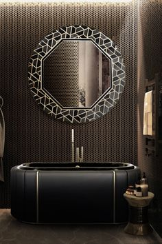 The Tortoise Mirror and the Darian Bathtub by Maison Valentina really elevate any decor to a whole new level, as we show up in this dark project. Bathroom Furniture, Bathroom Interior, Dark Bathrooms, Diamond Wall, Bathroom Design Inspiration, Classic Bathroom, Bathroom Trends, Bathroom Ideas, Contemporary Bathrooms