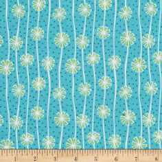 Sparkle Pom Pom Turquoise from @fabricdotcom  Designed by Amanda Murphy for Benartex, this cotton print is perfect for quilting, apparel, and home decor accents. Colors include teal, white, and light green.
