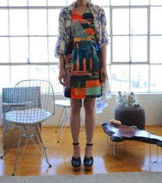 Jenni Rope for Marimekko printed dress, vintage belt, Suno scarf and Robert Clergerie shoes.