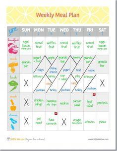 free weekly meal plans
