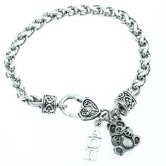 This Alpha Omicron Pi Panda Heart Bracelet would make a great gift for a Lil Sis or Big Sis.  Includes a silver-tone Alpha Omicron Pi charm, and a silver-tone panda charm.  Silver-tone heart clasp bra