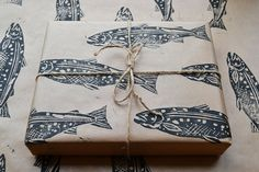 Hand-Printed fish gift wrap