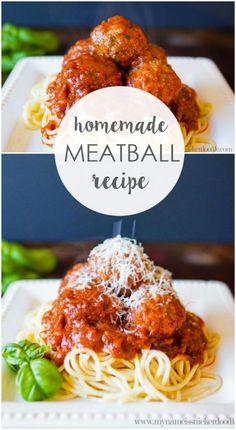 Meatballs The BEST homemade meatballs recipe, so good! Great dinner idea, a family favorite recipe!The BEST homemade meatballs recipe, so good! Great dinner idea, a family favorite recipe! Meat Recipes, Cooking Recipes, Healthy Recipes, Recipies, Best Homemade Meatball Recipe, Easy Homemade Meatballs, Great Dinner Ideas, Albondigas, Fun Cooking