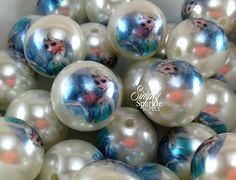 Elsa Frozen Inspired Double print beads NEW! chunky necklace beads 20mm big bubblegum beads