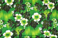 Hawaiian Fabric Vintage Textile Tropical by HappyFortuneVintage