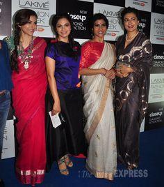 Pretty ladies Soha Ali Khan, Maria Goretti, Konkana Sen Sharma and Mini Mathur get together for the cameras on Day 3 at the Lakme Fashion Week Winter/Festive 2014. #Bollywood #Fashion #Style #Beauty