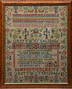 Botany Bay - A New Song 1788.   Nineteenth-century Needlework Sampler with a reference to Botany Bay and evidence of the hold that the notion of Botany Bay had on popular folklore and culture
