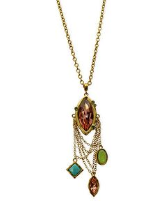 T Tahari Necklace, 14k Gold-Plated Multicolor Stone and Chain Pendant