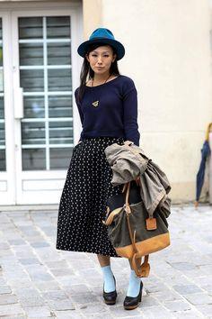 Loving the socks and heels thing. Paris