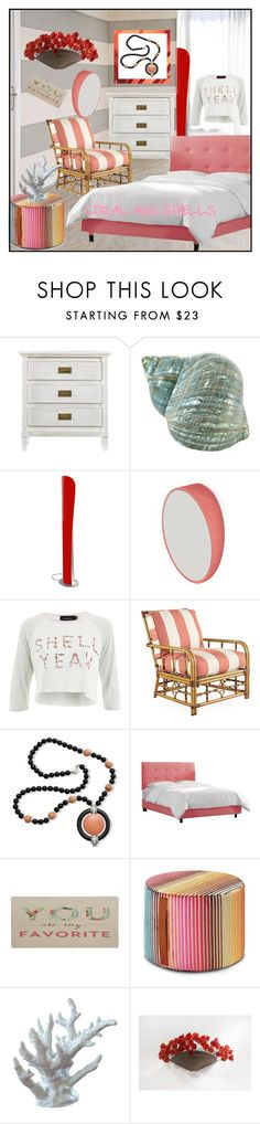 """""""CORAL AND SHELLS"""" by din-sesantadue ❤ liked on Polyvore featuring interior, interiors, interior design, home, home decor, interior decorating, Stanley Furniture, Artemide, Odilon and MINKPINK"""