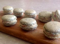 Macarons made with pumpkin seeds instead of almonds. Filled with vanilla buttercream with a few dried raspberry flakes Www.bakingfanatic.wordpress.com
