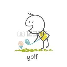 Ilustraci�n del hombre jugando al golf photo