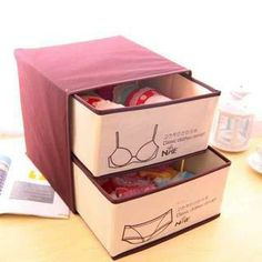 I wonder if I could create something similar with a cardboard covered with fabric and dollar store fabric drawers. Then I could make one each for underwear, bras, socks and tanks! – Underwear Storage Box' at YesStyle