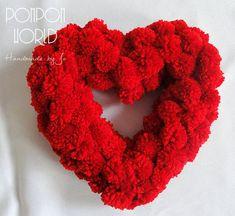 Pom pom heart, Red heart, Valentine decoration, For your love, Girlfriend gift, Boyfriend gift, St. Valentines present, Red decoration