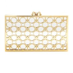 Charlotte Olympia Reflection Pandora Box Clutch ($1,580) ❤ liked on Polyvore featuring bags, handbags, clutches, gold, white handbags, charlotte olympia handbags, charlotte olympia purse, white purse и gold box clutch