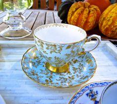 Light blue and gold vintage Tuscan Fine English Bone China tea cup