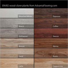Selection of our Envee wood look loose lay flooring products http://www.garageflooringllc.com/advanta-envee-loose-lay-wood-planks/