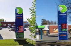 O'ou. -- Tämän verran on polttoaineiden hinta noussut neljässä vuodessa. Vasemmalla Google Street View -kuva toukokuulta 2009, oikealla vapunpäivän 2013 hintataso.