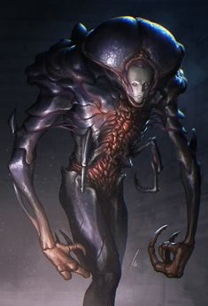 Personal Work Horror sci-fi creature, inspired by Tsutomu Nihei and Giger Monster Concept Art, Alien Concept Art, Creature Concept Art, Monster Art, Creature Design, Dark Creatures, Alien Creatures, Fantasy Creatures, Alien Character