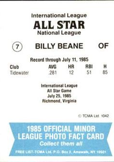 1985 TCMA International League All-Stars #7 Billy Beane Back